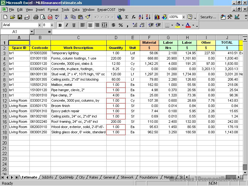 Repaircost Estimator For Excel 13 0 Free Download